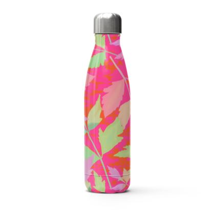 Pink Stainless Steel Thermal Flask  Cathedral Leaves  Trifle
