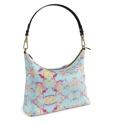 Blue Square Hobo Bag  Regal Leaves  Cobalt Sky