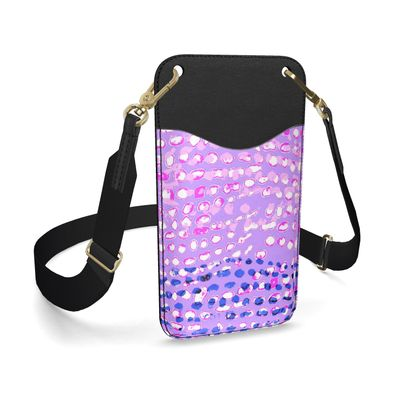 Textural Collection multicolored in mauve and blue Leather Phone Case With Strap