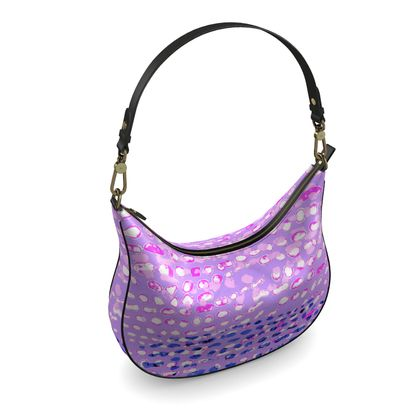 Textural Collection multicolored in mauve and blue Curve Hobo Bag