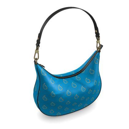 Paisley Drops on Petrol Blue Curve Hobo Bag