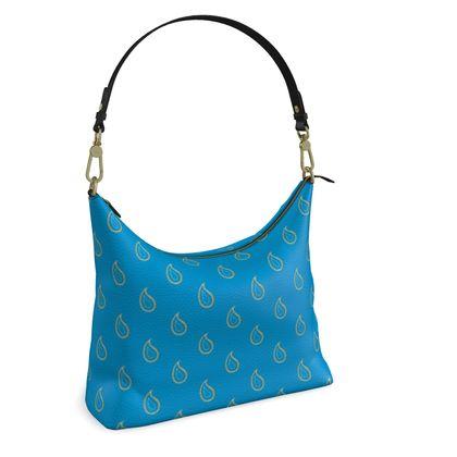 Paisley Drops on Petrol Blue Square Hobo Bag