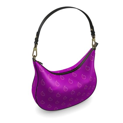 Paisley Drops on purple Curve Hobo Bag
