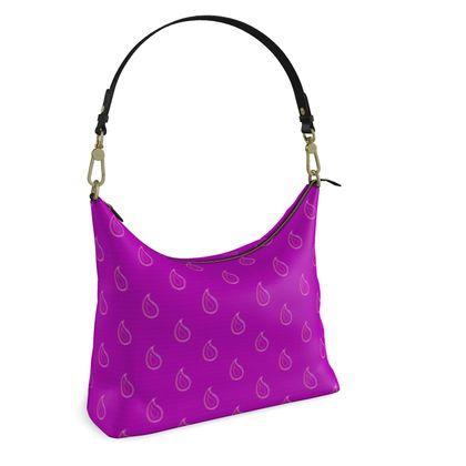 Paisley Drops on purple Square Hobo Bag