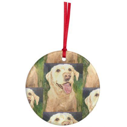 Biscuit the Golden Labrador Retriever Christmas Ornament