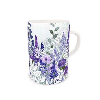 Tall Bone China Mug - Daydream in Blue