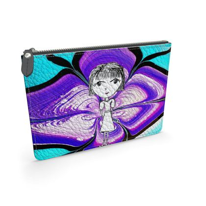 Aria Purple Girl by Elisavet Leather Pouch