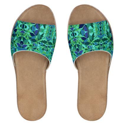 Emerald Green Womens Leather Sliders  Diamond Leaves  Rainforest
