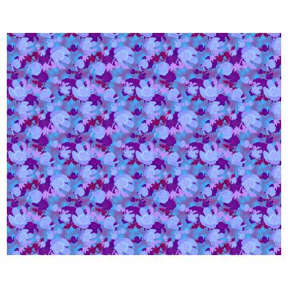 Blue Floral Kimono  Field Poppies  Midnight