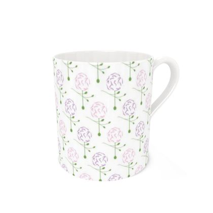 Dainty Spring Florals Pattern ~ Pink and Purple [WHITE] Coffee Mugs