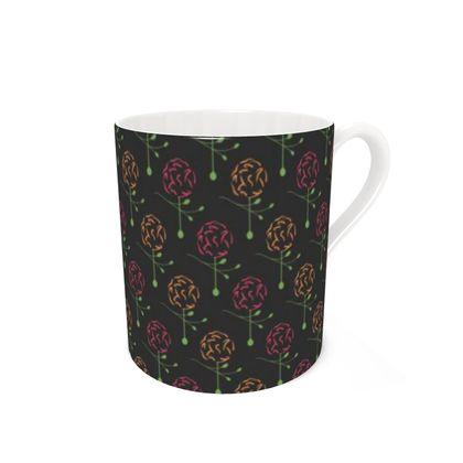 Dainty Spring Florals Pattern ~ Red and Orange [DARK GREY] Coffee Mugs