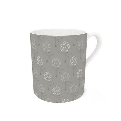 Dainty Spring Florals Pattern ~ Grey Cream [DUSTY CREAM] Coffee Mugs