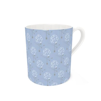 Dainty Spring Florals Pattern ~ White and Grey [DUSTY BLUE] Coffee Mugs