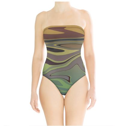 Strapless Swimsuit - Marble Rainbow 2