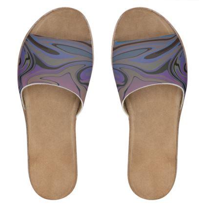 Womens Leather Sliders - Marble Rainbow 5