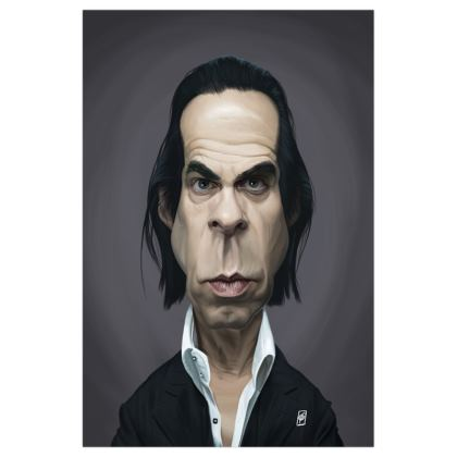 Nick Cave Celebrity Caricature Art Print