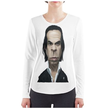 Nick Cave Celebrity Caricature ladies Long Sleeve Shirt