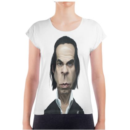 Nick Cave Celebrity Caricature Ladies T Shirt