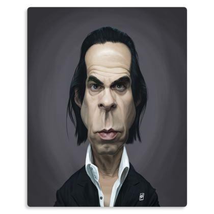Nick Cave Celebrity Caricature Metal Print