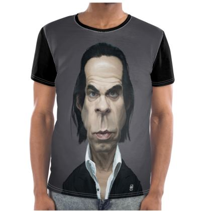 Nick Cave Celebrity Caricature Cut and Sew T Shirt