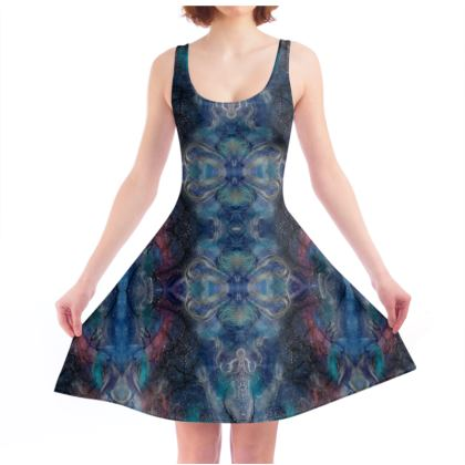 Celestial Blue Lotus Skater Dress