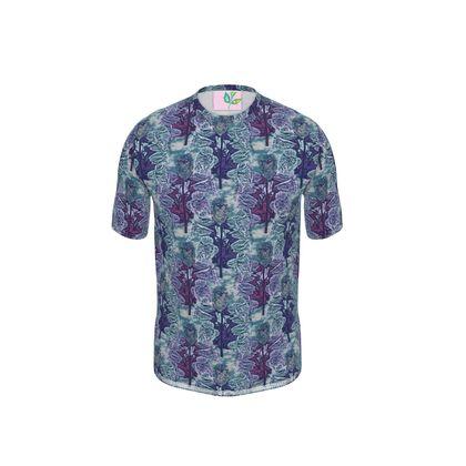 Blue Mens Cut And Sew T - Shirt   Foxglove   Deep Ocean