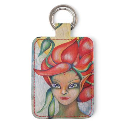 Schlüsselanhänger Sonnen-Elfe, Schlüsselanhänger aus veganem Kunstleder mit Elfen-Motiv