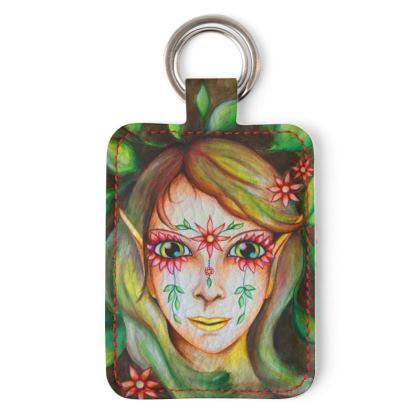 Schlüsselanhänger Karo-Elfe, Schlüsselanhänger aus veganem Kunstleder mit Elfen-Motiv