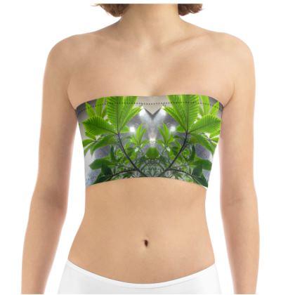 Green Leaf Tube Bandeau Top