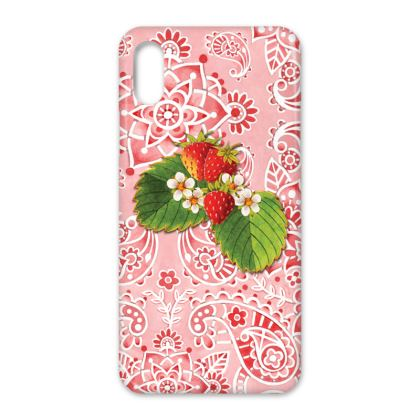 Pink Paisley Strawberries iPhone X Case