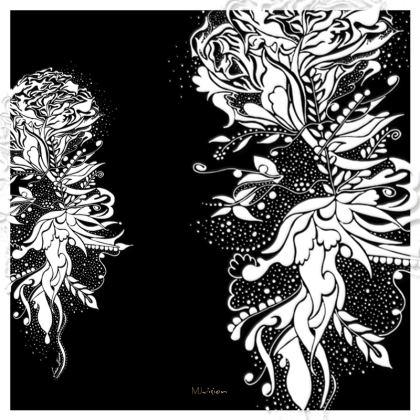 Serving Platter - Uppläggningsfat - Ink flower black and white