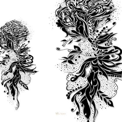 Serving Platter - Serveringsfat - Ink flower white and black