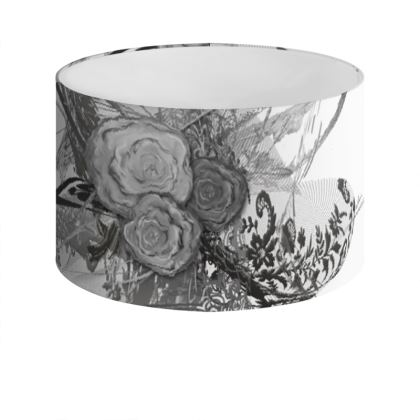 Drum Lamp Shade - Lampskärm - 50 shades of lace grey white