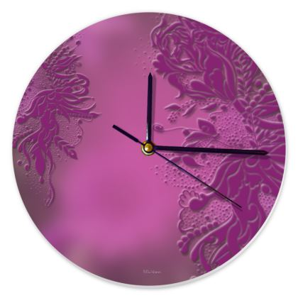 Clock - Klocka - Lila Ink Flower Lila