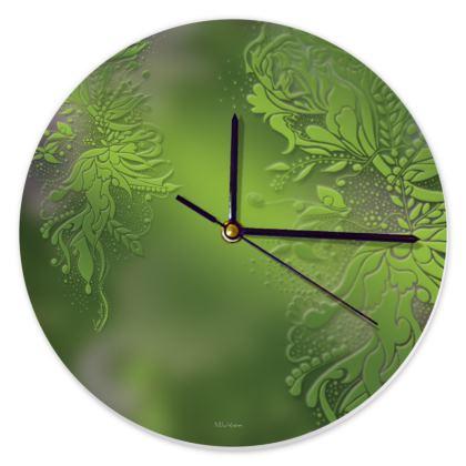 Clock - Klocka - Green Ink Flower Green