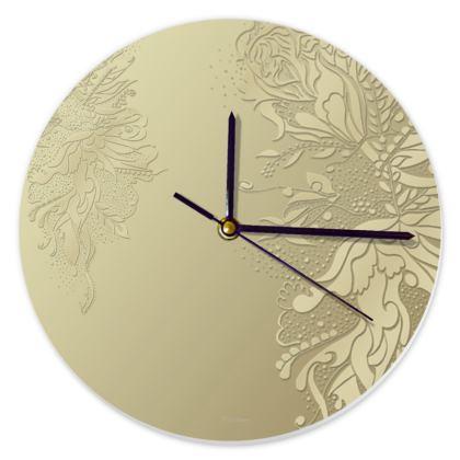 Clock - Klocka - Gold Ink Flower Gold