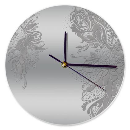 Clock - Klocka - Silver Ink Flower Silver