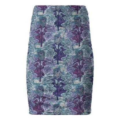 Blue Pencil Skirt  Foxglove  Deep Ocean