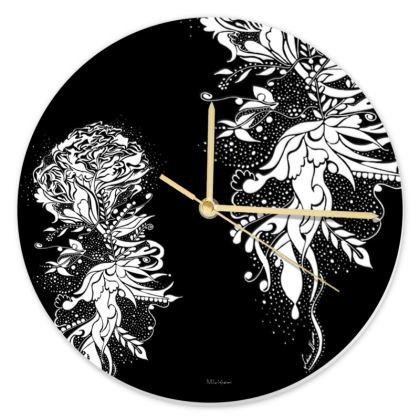 Clock - Klocka - White Ink black