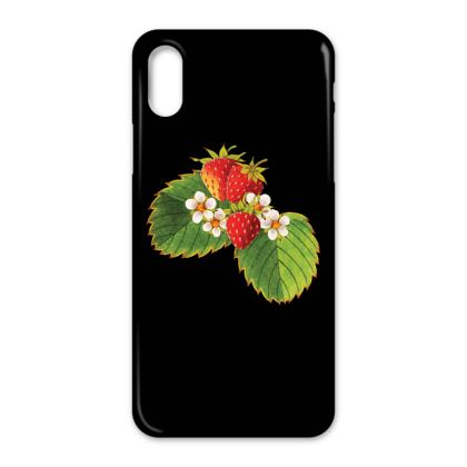 Strawberries on black iPhone X Case