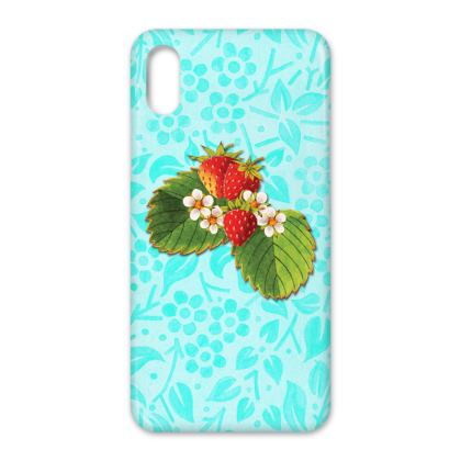 Strawberries on Aqua iPhone X Case
