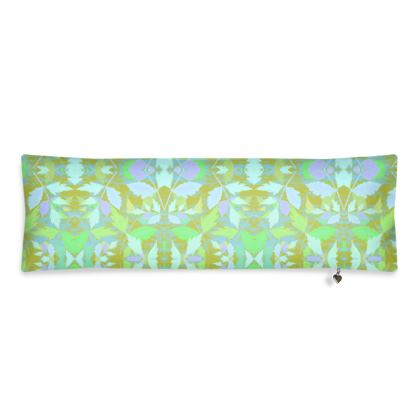 Green Bolster Cushion  Cathedral Leaves  Summer Leaves