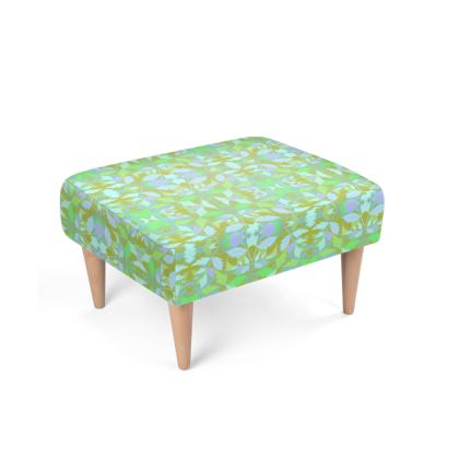 Green Footstool  Cathedral Leaves  Summer Leaves