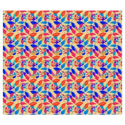 Blue, orange geometric leaf Roller Blinds  Cathedral Leaves  Kaleidoscope