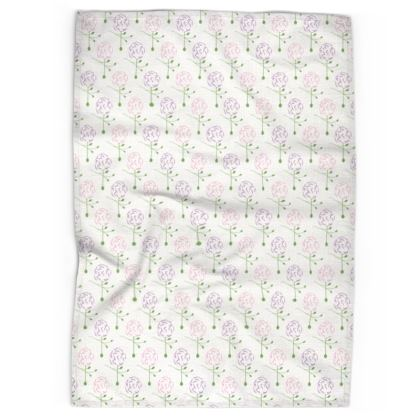 Dainty Spring Florals Pattern ~ Pink and Purple [WHITE] Tea Towels