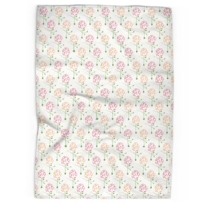 Dainty Spring Florals Pattern ~ Red and Orange [WHITE] Tea Towels