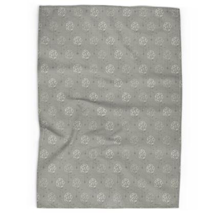 Dainty Spring Florals Pattern ~ Grey Cream [DUSTY CREAM] Tea Towels