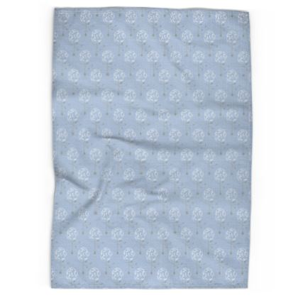 Dainty Spring Florals Pattern ~ White and Grey [DUSTY BLUE] Tea Towels