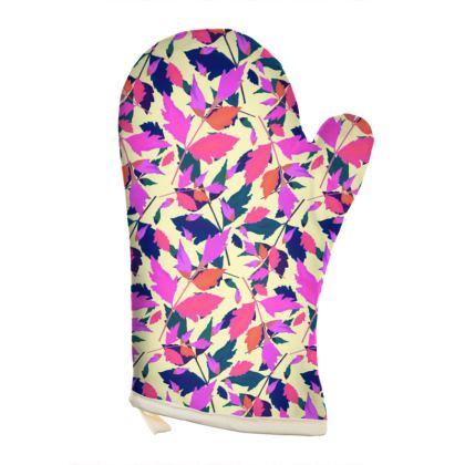 Pink, mauve Oven glove [Rt. hand shown]  Diamond Leaves  Sunset