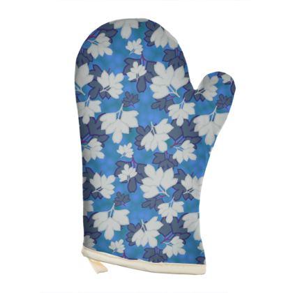 Blue Oven Glove [Rt hand shown]  Oriental Leaves Blue Stream